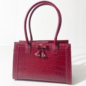 Liz Claiborne Burgundy Crocodile Embossed Handbag
